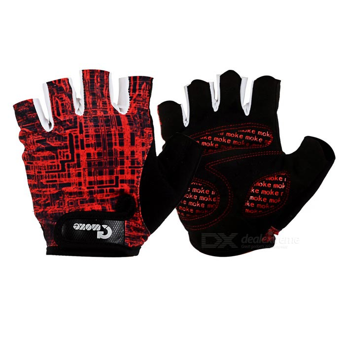 MOke Outdoor Cycling Sweat-Absorbing Polyester Half-Finger Gloves - Black + Red (M / Pair)
