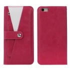 Protective TPU + PC Leather Flip-Open Case w/ Card Slot / Stand for IPHONE6 / 6S - Dark Pink