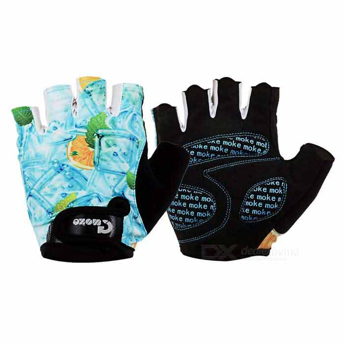 MOke Sweat-Absorbing Polyester Half-Finger Gloves - Light Blue (M)