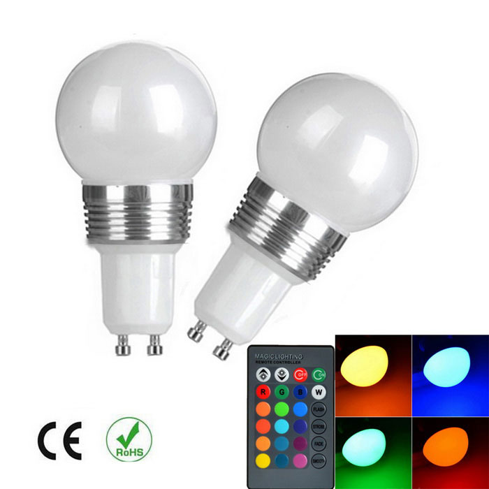 GU10 Dimmable RGB LED Energy Saving Ball Steep Light w/ Remote (2PCS)