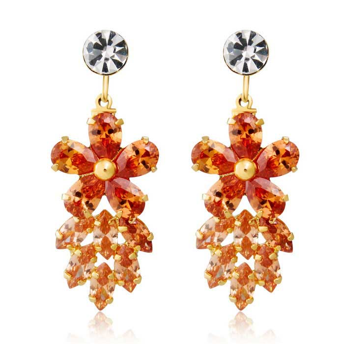 Xinguang Plum Blossom Falling Leaf Style Crystal Earrings - Gold