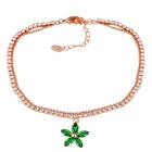 Xinguang Green Maple Leaf Style Crystal Inlaid Bracelet for Women - Gold
