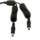 1 to 2 5V / 12V DC 5.5 x 2.1mm Male to Female Power Extension Cable w/ Switch - Black