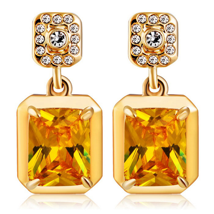 Xinguang Quadrilateral Yellow Crystal Inlaid Earrings - Golden