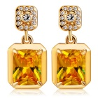 Xinguang Quadrilateral Yellow Crystal Inlaid Earrings - Gold