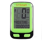 "CTSmart 22-Functional 1.7"" Screen Bicycle Bike Computer w/ Stop Watch - Black + Green (1 x CR2032)"
