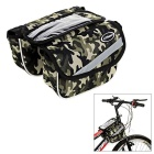 CTSmart Bicycle Bike Top Tube Double Bag w/ Touch Screen Phone Pouch - Green Camo (2L)