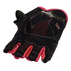 MOke Sweat-Absorbing Polyester Half-Finger Gloves - Black + Red (M)