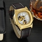 MCE Square Dial PU Band Automatic Mechanical Analog Wrist Watch - Golden + White