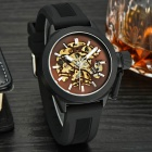 MCE Water Resistant Silicone Band Analog Auto Mechanical Wrist Watch - Black + Brown
