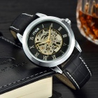 MCE Artificial Leather Band Self-Winding Mechanical Wrist Watch - Silver + Black