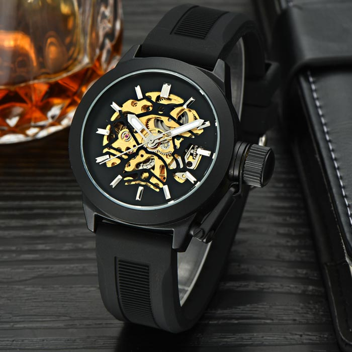 MCE Analog Mechanical Water Resistant Wrist Watch - Black + GoldenMechanical Watches<br>Form ColorBlack + Golden + Multi-ColoredQuantity1 DX.PCM.Model.AttributeModel.UnitShade Of ColorBlackCasing MaterialAlloyWristband MaterialSiliconeSuitable forAdultsGenderUnisexStyleWrist WatchTypeFashion watchesDisplayAnalogMovementMechanicalDisplay Format12 hour formatWater ResistantFor daily wear. Suitable for everyday use. Wearable while water is being splashed but not under any pressure.Dial Diameter4.2 DX.PCM.Model.AttributeModel.UnitDial Thickness1.5 DX.PCM.Model.AttributeModel.UnitWristband Length25.8 DX.PCM.Model.AttributeModel.UnitBand Width2 DX.PCM.Model.AttributeModel.UnitBatteryN/APacking List1 x Watch1 x Watch case<br>