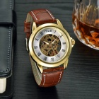 MCE Leather Band Self-Winding Mechanical Wrist Watch - Gold + Dark Grown