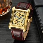 MCE Square Artificial Leather Wristband Automatic Hollow Out Mechanical Watch - Red + Gold