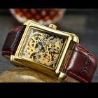 MCE Square Artificial Leather Mechanical Watch - Red + Golden