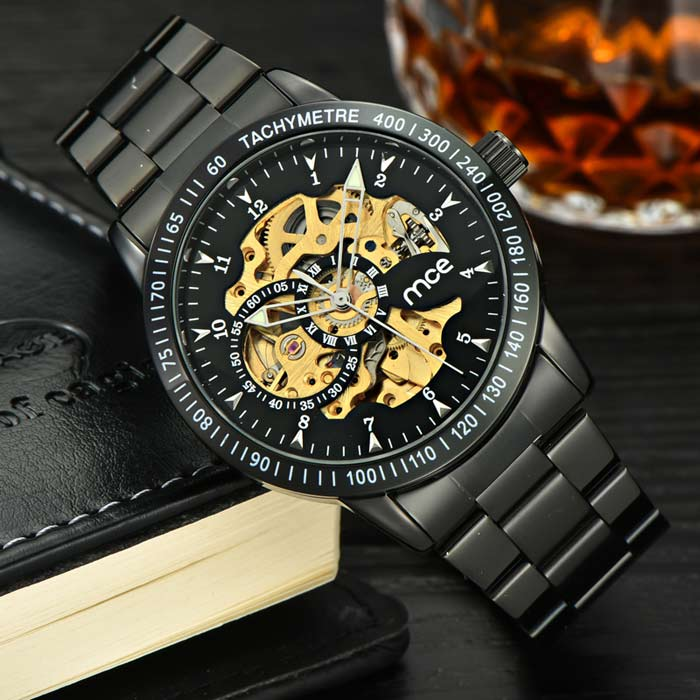 MCE Unisex Steel Watchband Mechanical Watch - Black + Golden