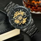 MCE Unisex Waterproof Steel Watchband Mechanical Watch- Black + Golden