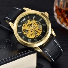 MCE Artificial Leather Band Self-Winding Mechanical Wrist Watch - Black + Gold