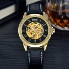 MCE Artificial Leather Band Self-Winding Wrist Watch - Black + Golden