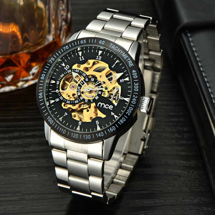 MCE Unisex Waterproof Steel Watchband Mechanical Watch - Silver+Golden