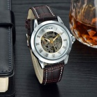 MCE Fashionable PU Leather Band Analog Self-Winding Mechanical Wrist Watch - Silver + Brown
