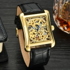 MCE Fashionable Hollow-out PU Leather Band Self-Winding Mechanical Watch - Golden + Black