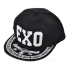 "Unisex Fashionable ""EXO"" Pattern Glow-in-the-Dark Hip-Hop Baseball Flat Peak Cap Hat - Black + White"