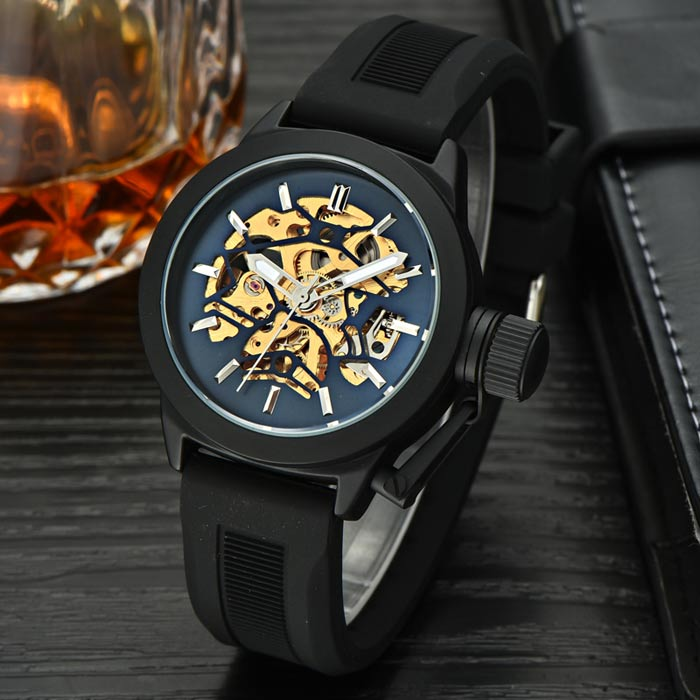 MCE Water Resistant Self-Winding Mechanical Watch - Black + Deep BlueMechanical Watches<br>Form ColorBlack + Dark BlueQuantity1 DX.PCM.Model.AttributeModel.UnitShade Of ColorBlackCasing MaterialAlloyWristband MaterialSiliconeSuitable forAdultsGenderUnisexStyleWrist WatchTypeFashion watchesDisplayAnalogBacklightNoMovementMechanicalDisplay Format12 hour formatWater ResistantFor daily wear. Suitable for everyday use. Wearable while water is being splashed but not under any pressure.Dial Diameter4.2 DX.PCM.Model.AttributeModel.UnitDial Thickness1.5 DX.PCM.Model.AttributeModel.UnitWristband Length25.8 DX.PCM.Model.AttributeModel.UnitBand Width2 DX.PCM.Model.AttributeModel.UnitBatteryNoPacking List1 x Watch1 x Box<br>