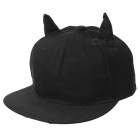 Unisex Fashionable Bull Horns Style Baseball Flat Peak Cap Hat - Black