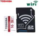 Genuine Toshiba Extreme 16GB U1 CLASS 10 Micro SD / TF Memory Card with Wi-Fi SD Adapter   UP TO 48m