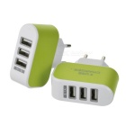 3-USB 3.1A EU Plug Quick-charge AC Charger - Green (2PCS / 100~240V)