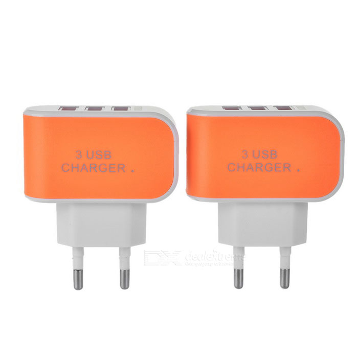 3-USB 3.1A EU Plug Quick-charge AC Charger - Orange (2PCS / 100~240V)