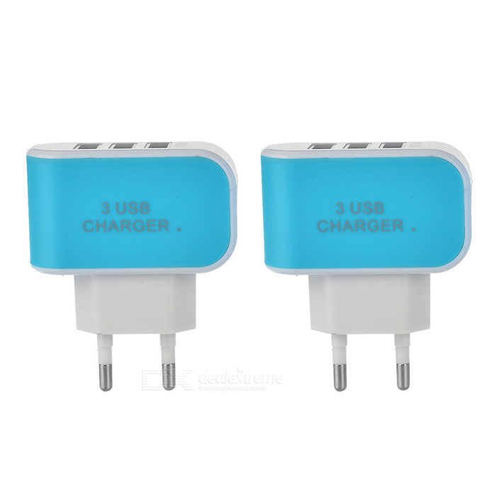 3-USB 3.1A EU Plug Quick-charge AC Charger - Blue (2PCS / 100~240V)AC Chargers<br>Form ColorBlueModelN/AMaterialABSQuantity2 DX.PCM.Model.AttributeModel.UnitCompatible ModelsUniversalInput Voltage100~240 DX.PCM.Model.AttributeModel.UnitOutput Current3.1 DX.PCM.Model.AttributeModel.UnitOutput Voltage5 DX.PCM.Model.AttributeModel.UnitPower AdapterEU PlugOther FeaturesSingle USB in charging: Max. current 2.1A; Dual USB in charging: Each port 1A; Triple USB in charging: total output max. current 3.1APacking List2 x EU plug chargers<br>