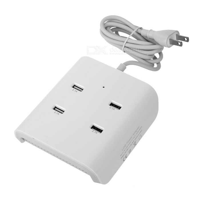 50W 5V 8.4A 4-USB Charger w/ Vents for Phone, Tablet - White (US Plugs)