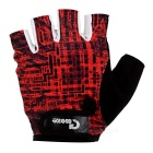 MOke Sweat-Absorbing Polyester Half-Finger Gloves - Red + Black (XL)