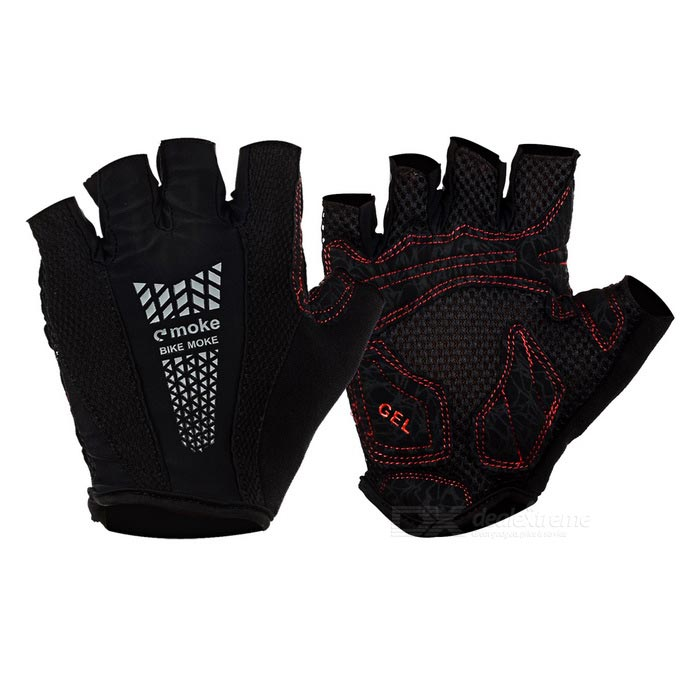 MOke Sweat-Absorbing Polyester Half-Finger Gloves - Black (M)