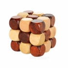 Educational Wooden Interlock Toy - Wood Color + Brown (Size M)