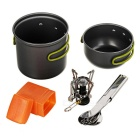 DS-101 Portable Outdoor Mini Stove + Pot + Fork + Knife + Spoon Set - Blackish Grey + Silver