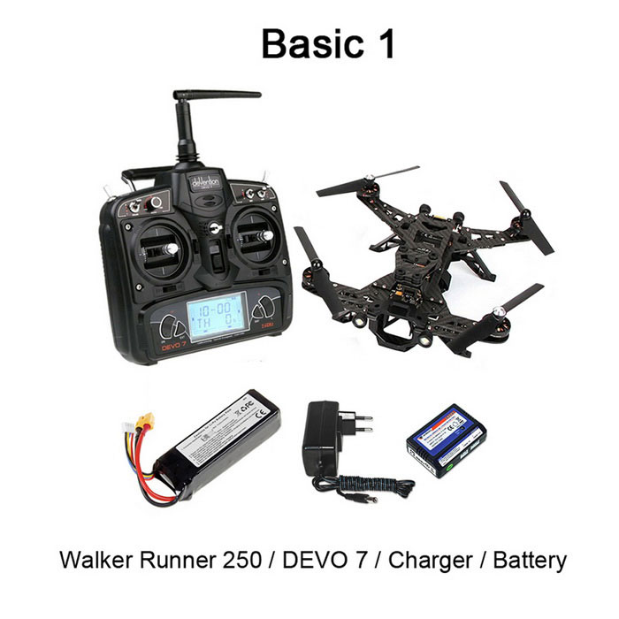 Walkera runner 250 2.4GHz 5 CH quadcopter w / gyro / caméra - noir