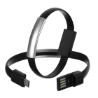 Micro USB Bracelet Charging Cable for Android - Black (2PCS / 16.9cm)