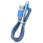 Micro USB V8 to USB 2.0 Braided Data Sync & Charging Cable for Samsung - Blue