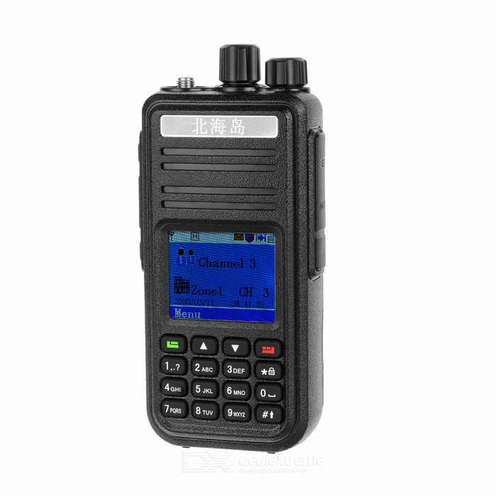Beihaidao 1.8 LCD 5W 128-CH U-Band 400~480MHz DMR Walkie TalkieWalkie Talkies<br>Form  ColorBlack + Antique SilverModelN/AQuantity1 DX.PCM.Model.AttributeModel.UnitMaterialPlastic + silicone + metalFrequency Range400~480MHzChannel128Frequency Stability2.5 DX.PCM.Model.AttributeModel.UnitOutput Power5 DX.PCM.Model.AttributeModel.UnitWorking Voltage   7.4 DX.PCM.Model.AttributeModel.UnitWorking Distance3~5kmEncryptionCTCSS,DCS,Others,DMRBattery Capacity2000 DX.PCM.Model.AttributeModel.UnitStandby Time72 DX.PCM.Model.AttributeModel.UnitWorking Time8~24 DX.PCM.Model.AttributeModel.UnitOther Features1.8 LCD screenPacking List1 x Walkie talkie1 x Battery1 x 12.5V charging station1 x 110~250V US plug charger (103+/-2cm)1 x Clip1 x Strap (21+/-2cm)2 x Screws2 x Antennas1 x English user manual<br>