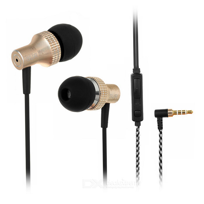 SUR MJ1025 In-Ear 3.5mm Earphone w/ Mic,Remote - Champagne Gold+ Black