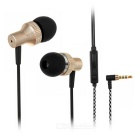 SUR MJ1025 In-Ear 3.5mm Wired Earphones w/ Mic. / Remote - Champagne Gold + Black