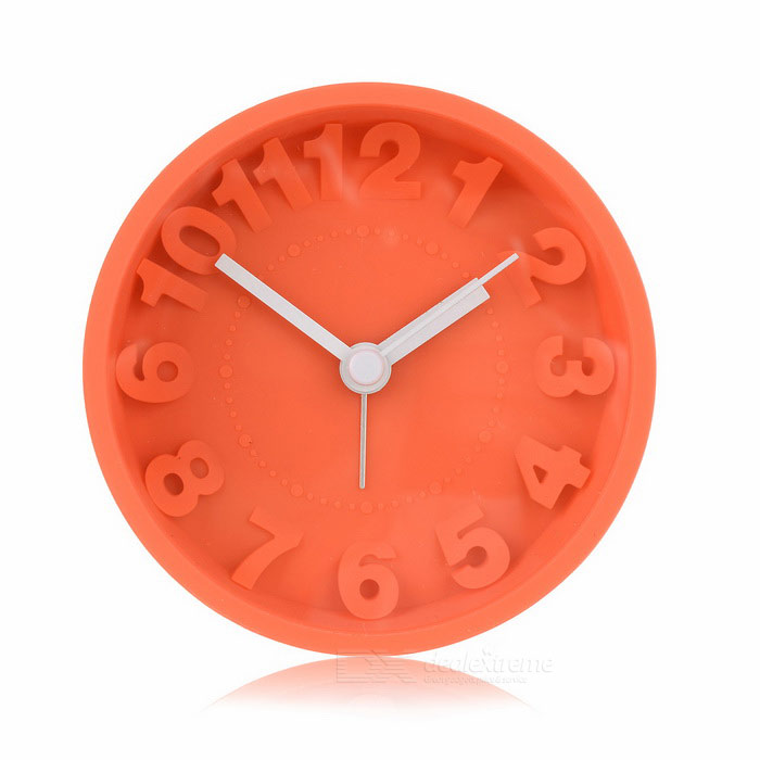 Silicone Mute Mirror Alarm Clock - Orange (1*AA)