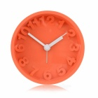 Silicone Mute Mirror Alarm Clock - Orange (1 x AA)