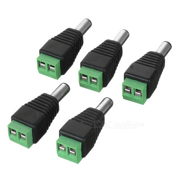 5.5 x 2.1mm DC Female Power Connectors - Black + Silver (5PCS)