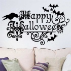 Happy Halloween Style Water-Resistant Removable PVC Home Wall Sticker Decal - Black