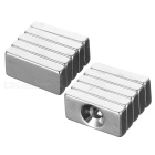 DIY 20x10x4mm Rectangular Strong NdFeB Magnets with & without Hole - Silver (10PCS)