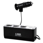 Jtron Triple Socket & USB Charger Supply & Cigarette Lighter Car Charger - Black